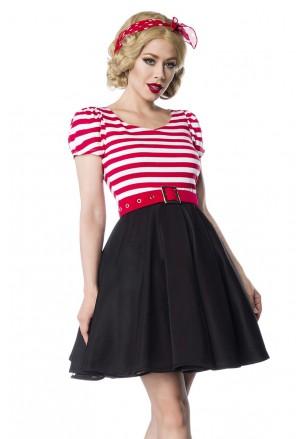Sladké pásikové šaty v retro štýle