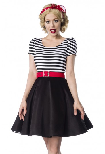 Sweet striped retro dress with puff sleeves