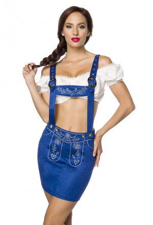 Traditional embroider folk dirndl skirt with halter