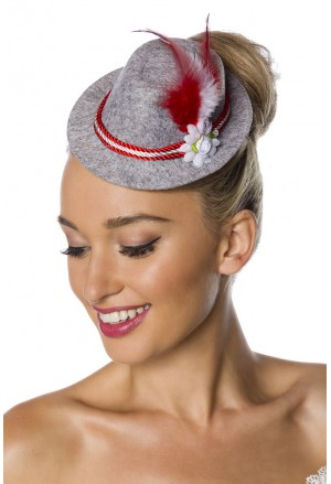 Women's hut fascinator with feathers and flowers