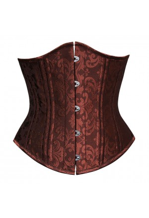 Steampunk brown brocade under bust corset