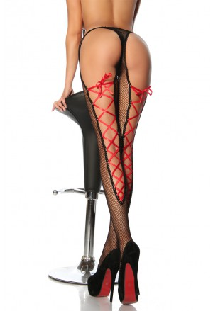 Bold hot tigh high pantyhose with red lacing