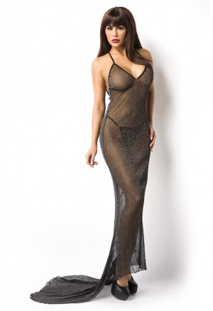Long black stars dress / neglige with train