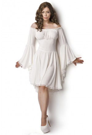 Historical angel white bell sleeves pirate dress