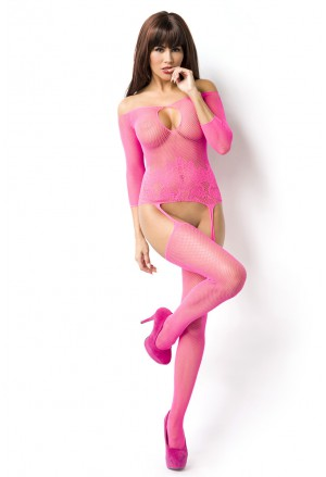 Pink open bust fishnet bodystockings