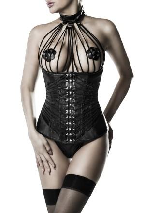 Luxusný zvodný čierny korzet pod prsia Grey Velvet