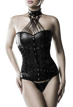 Luxury premium faux corset with choker GREY VELVET