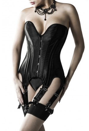 Top quality black deep plunge corset GREY VELVET