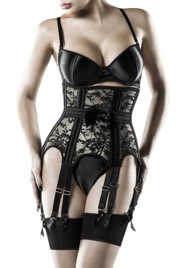 Premium lace under bust corset set GREY VELVET