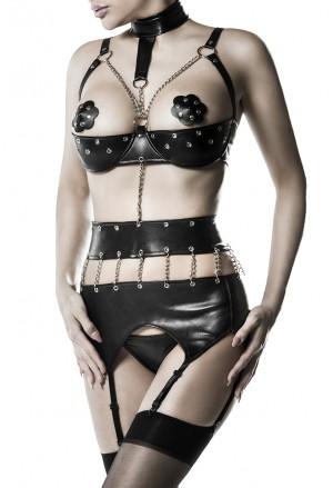 Koženkový erotický bondáž set spodného prádla s retiazkami Grey Velvet