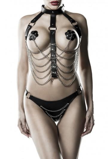 Exclusive Harness bondage lingerie set Grey Velvet