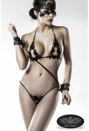 Glamour boudoir underwear lingerie set Grey Velvet
