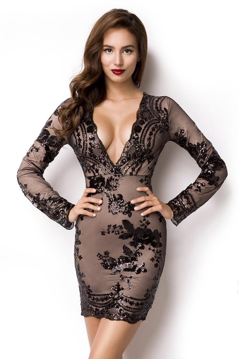 Odvážne glam spoločenské šaty s dlhým rukávom - SELECTAFASHION.COM 8b35b8bf3f9
