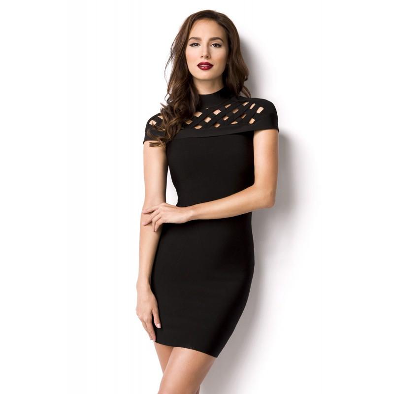effd7766d87b Čierne bandážové šaty z hodvábu