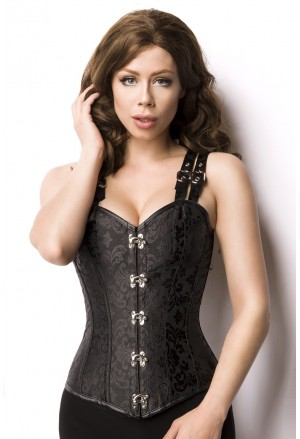 Steampunk black full back corset Wild Wild West