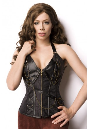 Black steampunk faux chain corset