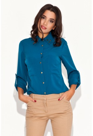 Women's shirt with studded collar