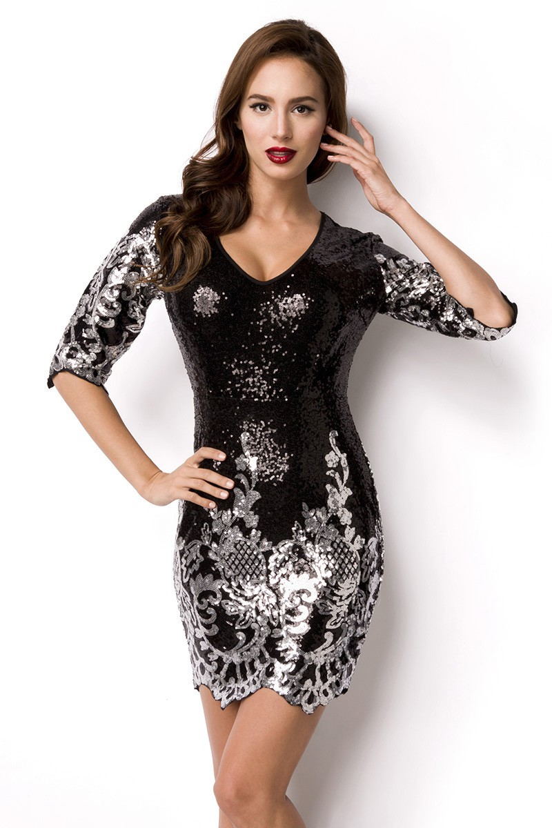 4127bd381 Short prom black silver sequins Art Nouveau dress - SELECTAFASHION.COM