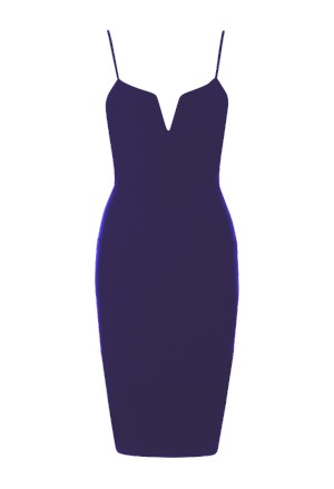 Plunge navy blue V neck bandage rip bodycon dress