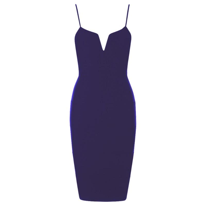 299786cf9222 Bandážové bodycon šaty s V výstrihom tmavomodré - SELECTAFASHION.COM