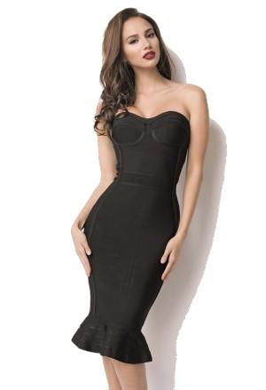 062b05bb7e06 Elegantné čierne bandážové šaty OLYMPIA