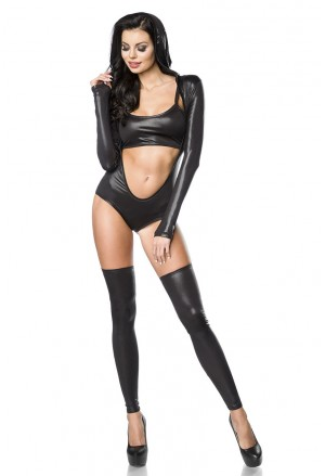 Exklusive  gogo wetlook hooded body set