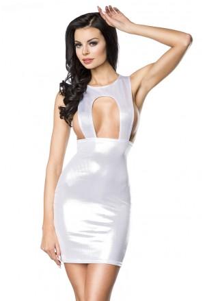 Odvážne metalické wetlook šaty s vysokým pásom