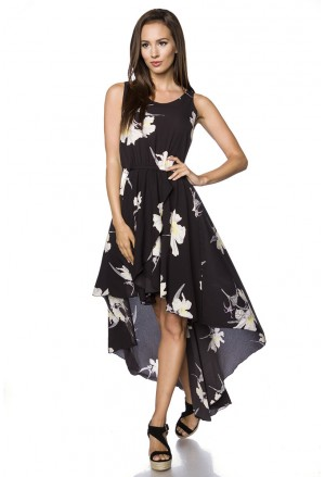 Summer asymmetric floral bohemian dress