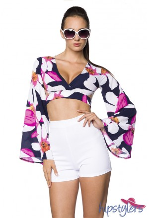 Unusual hippie summer top with long sleeves