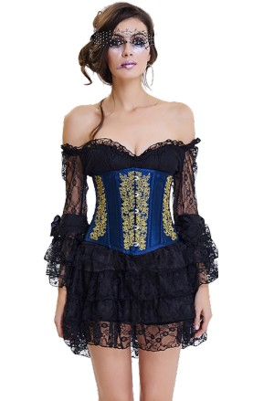 Vintage royal brocade corset under breast