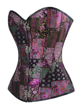 Steel boned steampunk corset Color Eclectic
