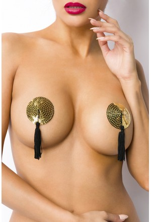 Seductive gold sequins nipple patches tassle covers