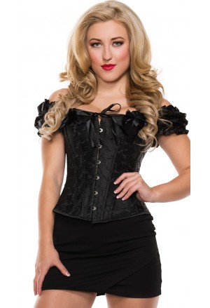Black embroidered corset with shoulder straps