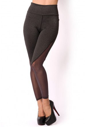 Mesh insert sporty high waist leggings