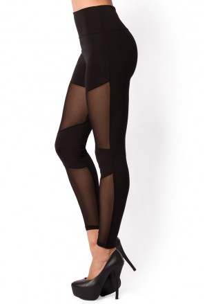 Black womens mesh panel leggings