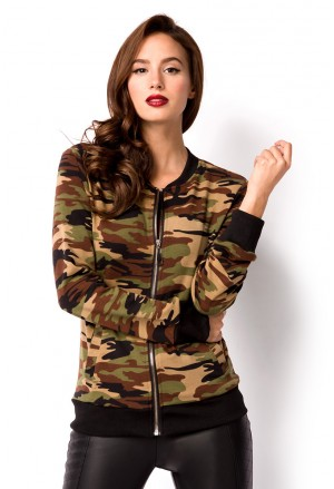 Army militant women's bomber jacket
