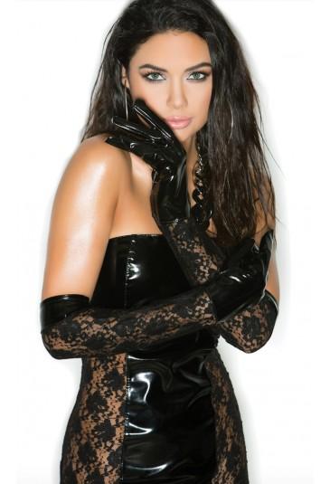 Faux PU black lace elbow gloves
