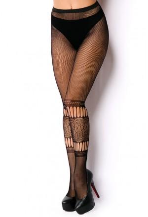 Extravagant pattern black stockings