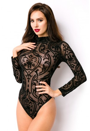 Black flocked transparent long sleeve bodysuit