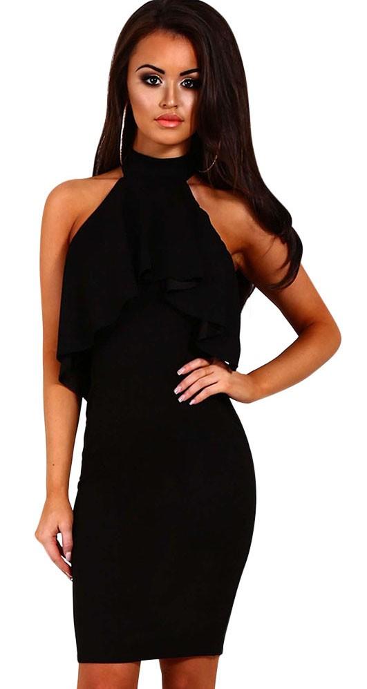 30db4e99ce81 Čierne spoločenské šaty s volánom - SELECTAFASHION.COM