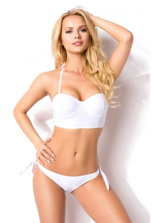 Push up white swimwear with padded bralet bra