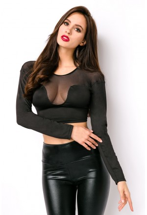Fancy black mesh detail long sleeve crop top