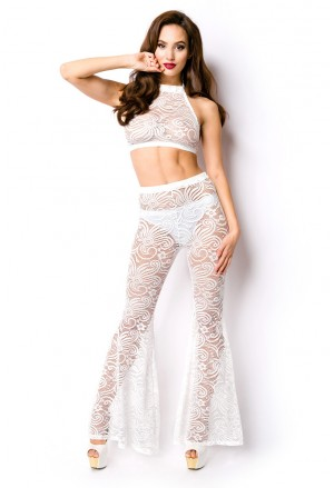 White lace bohemian set with top and pants