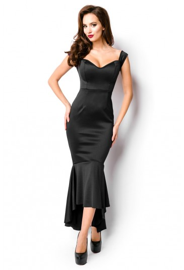 Beautiful Black Satin Dress A Lá Morticia Addams
