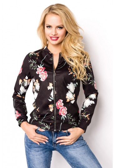 Floral black bomber jacket