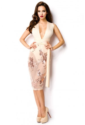 Sequins transparent beige pink dress with multiway bindings