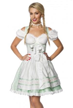 Nežné bavorské krojové šaty - bledozelené