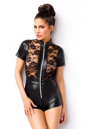 Wetlook body romper with lace