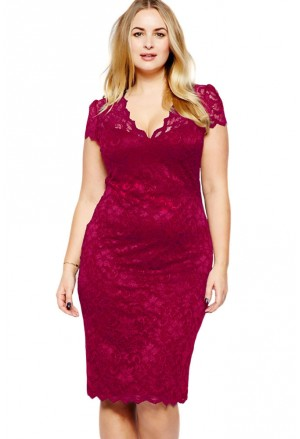 Red women's V neck lace dress plus size