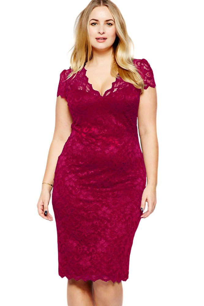 769ae8e58fa1 Red women s V neck lace dress plus size - SELECTAFASHION.COM